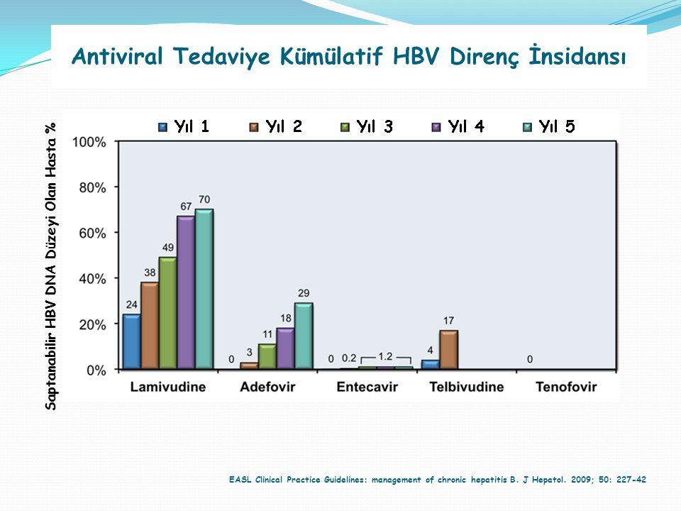 EASL Clinical Practice Guidelines: management of chronic hepatitis B. J Hepatol. 2009; 50: 227-42 Antiviral Tedaviye Kümülatif HBV Direnç İnsidansı Sa