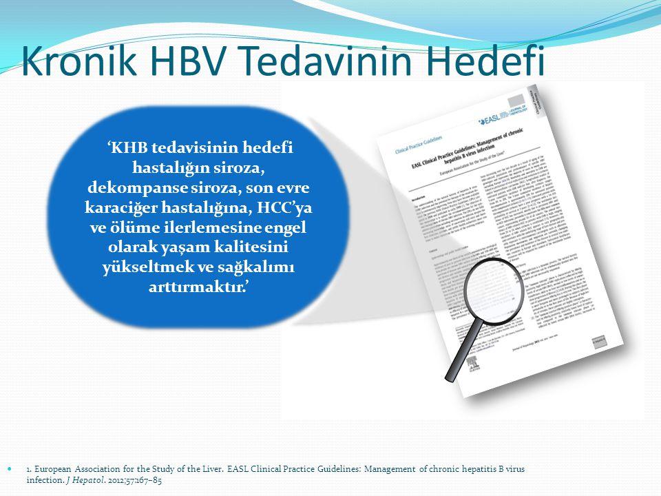 Negatif HBeAg Negatif HBV DNA Anti-HBe+ Negatif HBsAg Anti-HBs+ Sağkalımda Düzelme Histolojide Düzelme Tedaviyi kesmek için kabul edilen tedavi sonlanım noktaları.