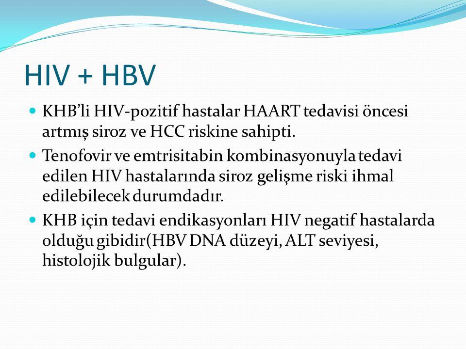 HIV + HBV KHB'li HIV-pozitif hastalar HAART tedavisi öncesi artmış siroz ve HCC riskine sahipti. Tenofovir ve emtrisitabin kombinasyonuyla tedavi edil