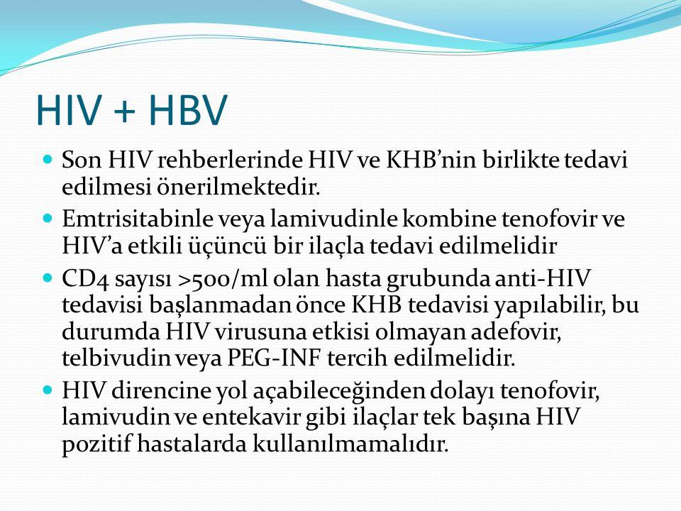 HIV + HBV Son HIV rehberlerinde HIV ve KHB'nin birlikte tedavi edilmesi önerilmektedir. Emtrisitabinle veya lamivudinle kombine tenofovir ve HIV'a etk