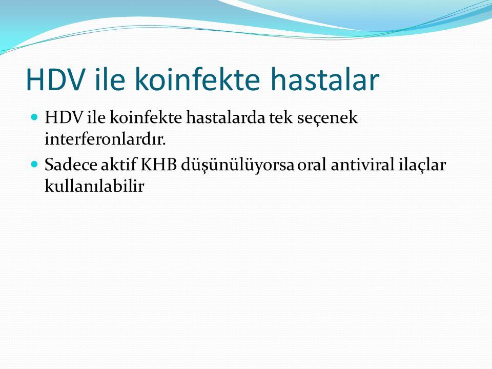 HDV ile koinfekte hastalar HDV ile koinfekte hastalarda tek seçenek interferonlardır. Sadece aktif KHB düşünülüyorsa oral antiviral ilaçlar kullanılab
