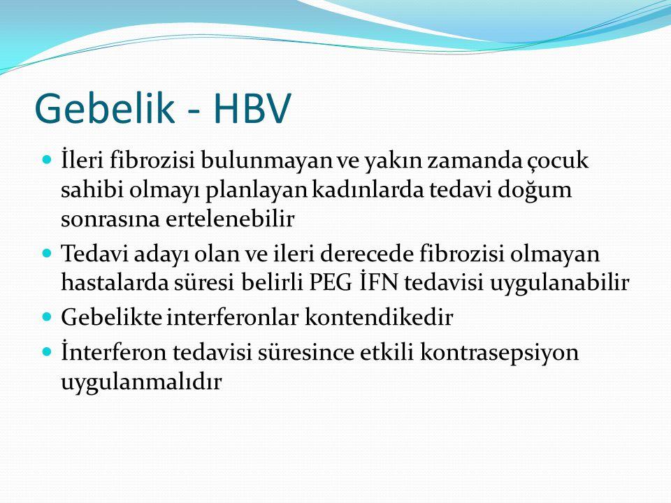 Gebelik - HBV İleri fibrozisi bulunmayan ve yakın zamanda çocuk sahibi olmayı planlayan kadınlarda tedavi doğum sonrasına ertelenebilir Tedavi adayı o