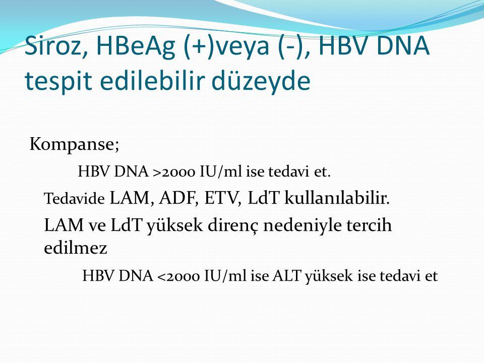 Siroz, HBeAg (+)veya (-), HBV DNA tespit edilebilir düzeyde Kompanse; HBV DNA >2000 IU/ml ise tedavi et. Tedavide LAM, ADF, ETV, LdT kullanılabilir. L