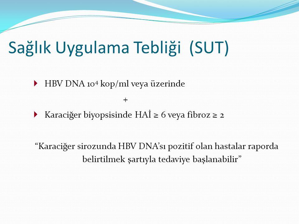 """ HBV DNA 10 4 kop/ml veya üzerinde +  Karaciğer biyopsisinde HAİ ≥ 6 veya fibroz ≥ 2 """"Karaciğer sirozunda HBV DNA'sı pozitif olan hastalar raporda b"""
