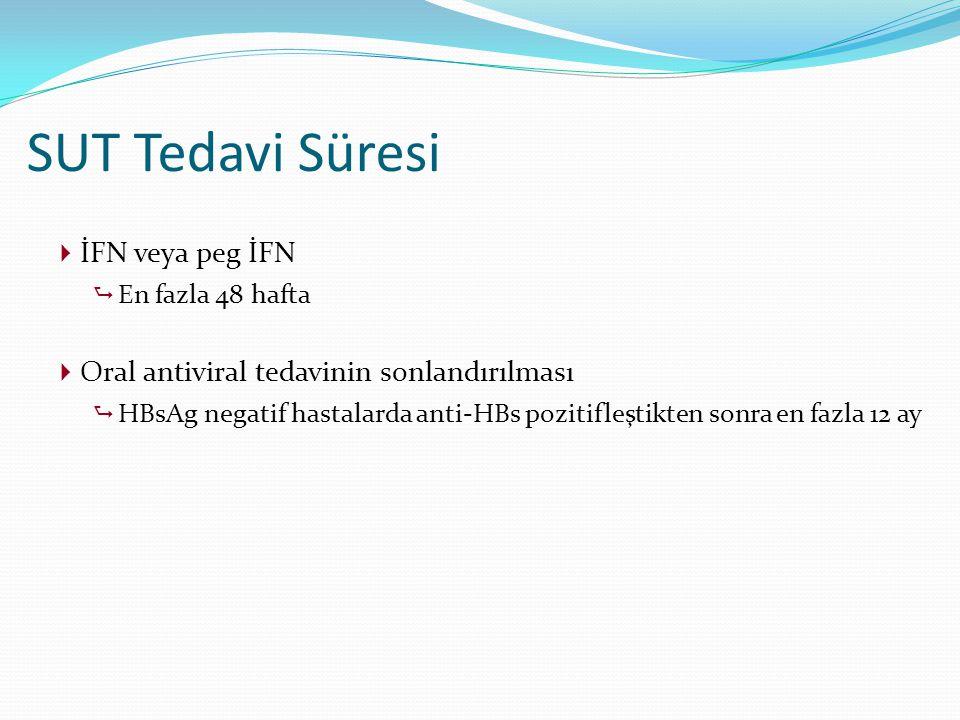  İFN veya peg İFN  En fazla 48 hafta  Oral antiviral tedavinin sonlandırılması  HBsAg negatif hastalarda anti-HBs pozitifleştikten sonra en fazla