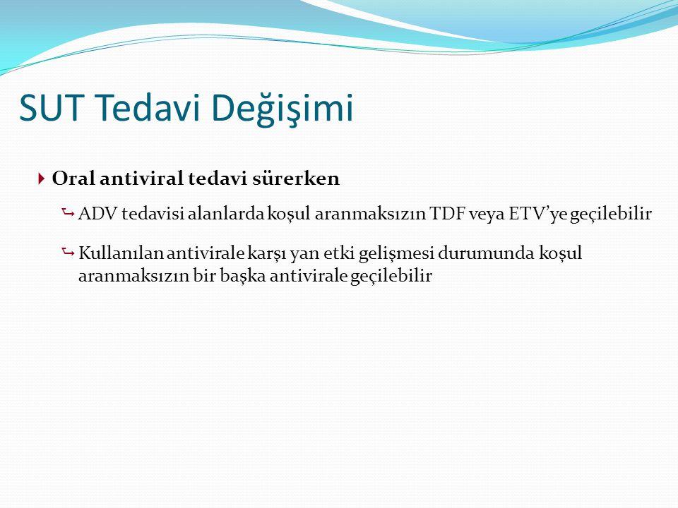  Oral antiviral tedavi sürerken  ADV tedavisi alanlarda koşul aranmaksızın TDF veya ETV'ye geçilebilir  Kullanılan antivirale karşı yan etki gelişm