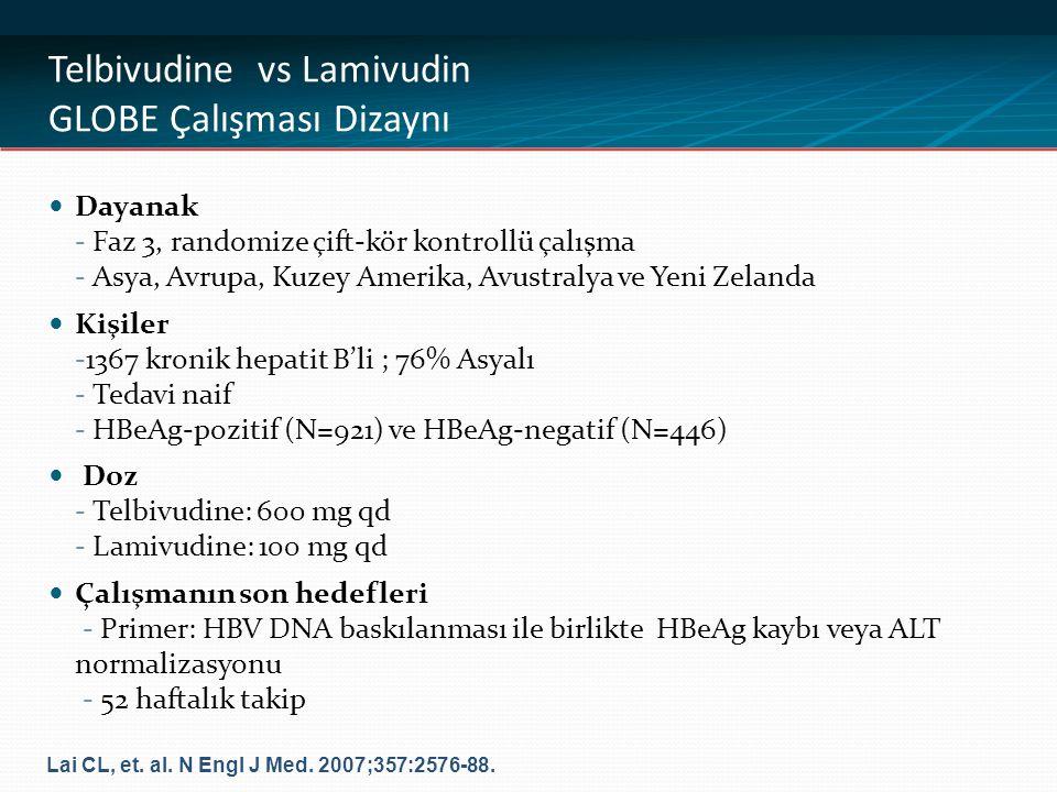 Telbivudine vs Lamivudin GLOBE Çalışması Sonuçları HBeAg POZİTİF HASTALAR: 52.HAFTA TEDAVİ YANITLARI Source: Lai CL, et al.