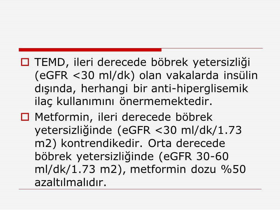  TEMD, ileri derecede böbrek yetersizliği (eGFR <30 ml/dk) olan vakalarda insülin dışında, herhangi bir anti-hiperglisemik ilaç kullanımını önermemek