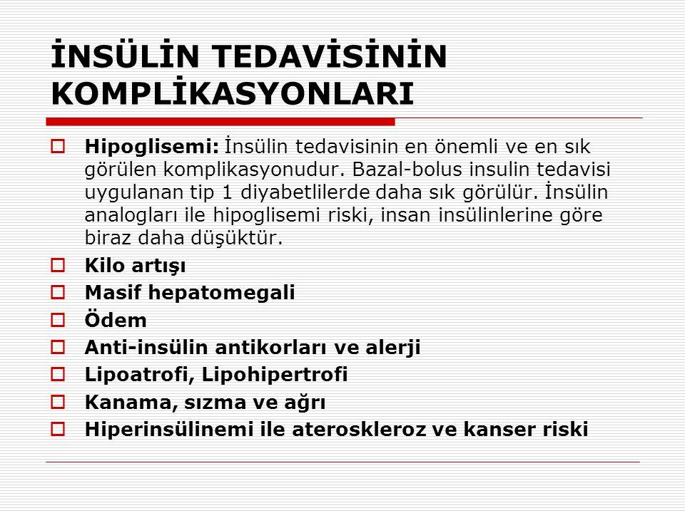 İNSÜLİN TEDAVİSİNİN KOMPLİKASYONLARI  Hipoglisemi: İnsülin tedavisinin en önemli ve en sık görülen komplikasyonudur. Bazal-bolus insulin tedavisi uyg