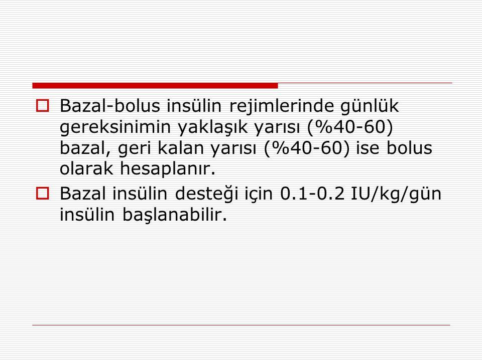  Bazal-bolus insülin rejimlerinde günlük gereksinimin yaklaşık yarısı (%40-60) bazal, geri kalan yarısı (%40-60) ise bolus olarak hesaplanır.  Bazal