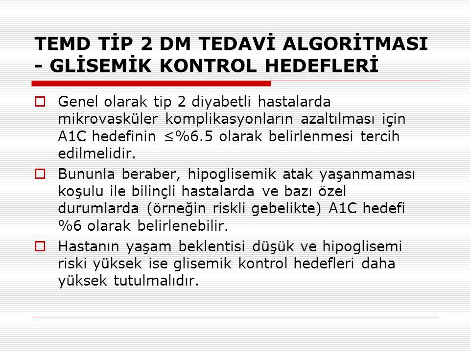 TEMD TİP 2 DM TEDAVİ ALGORİTMASI - GLİSEMİK KONTROL HEDEFLERİ  Genel olarak tip 2 diyabetli hastalarda mikrovasküler komplikasyonların azaltılması iç