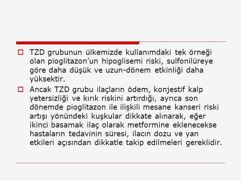  TZD grubunun ülkemizde kullanımdaki tek örneği olan pioglitazon'un hipoglisemi riski, sulfonilüreye göre daha düşük ve uzun-dönem etkinliği daha yük