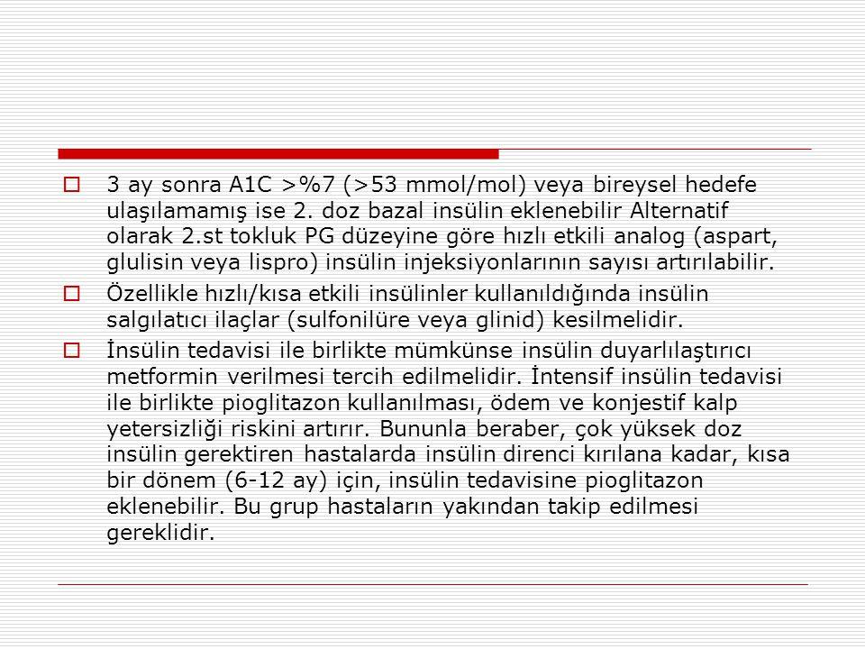  3 ay sonra A1C >%7 (>53 mmol/mol) veya bireysel hedefe ulaşılamamış ise 2. doz bazal insülin eklenebilir Alternatif olarak 2.st tokluk PG düzeyine g