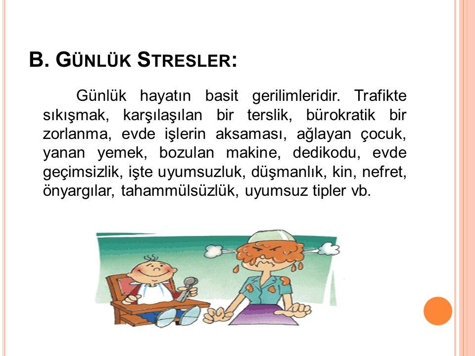 B. G ÜNLÜK S TRESLER : Günlük hayatın basit gerilimleridir. Trafikte sıkışmak, karşılaşılan bir terslik, bürokratik bir zorlanma, evde işlerin aksamas