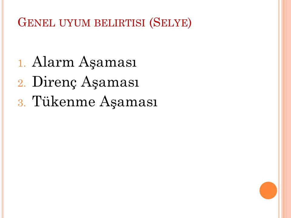 G ENEL UYUM BELIRTISI (S ELYE ) 1. Alarm Aşaması 2. Direnç Aşaması 3. Tükenme Aşaması