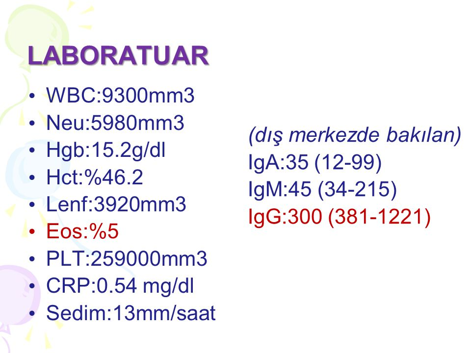 WBC:9300mm3 Neu:5980mm3 Hgb:15.2g/dl Hct:%46.2 Lenf:3920mm3 Eos:%5 PLT:259000mm3 CRP:0.54 mg/dl Sedim:13mm/saat LABORATUAR (dış merkezde bakılan) IgA: