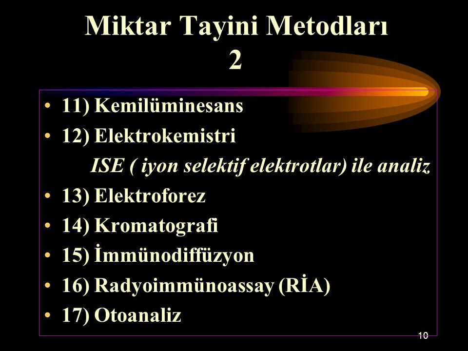 10 Miktar Tayini Metodları 2 11) Kemilüminesans 12) Elektrokemistri ISE ( iyon selektif elektrotlar) ile analiz 13) Elektroforez 14) Kromatografi 15)