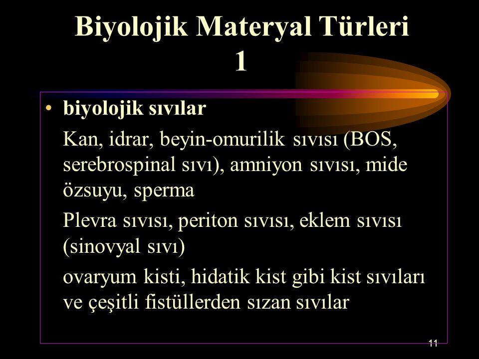 11 Biyolojik Materyal Türleri 1 biyolojik sıvılar Kan, idrar, beyin-omurilik sıvısı (BOS, serebrospinal sıvı), amniyon sıvısı, mide özsuyu, sperma Ple