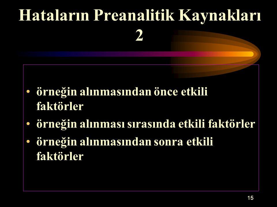 15 Hataların Preanalitik Kaynakları 2 örneğin alınmasından önce etkili faktörler örneğin alınması sırasında etkili faktörler örneğin alınmasından sonr