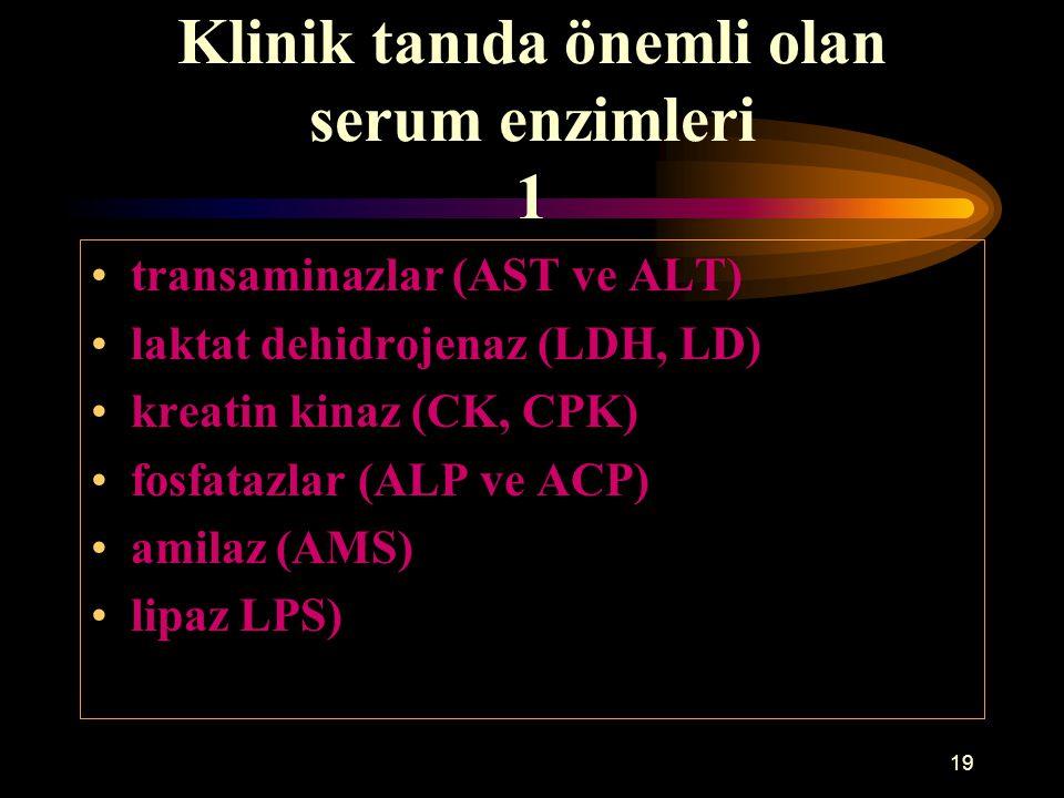 19 Klinik tanıda önemli olan serum enzimleri 1 transaminazlar (AST ve ALT) laktat dehidrojenaz (LDH, LD) kreatin kinaz (CK, CPK) fosfatazlar (ALP ve A