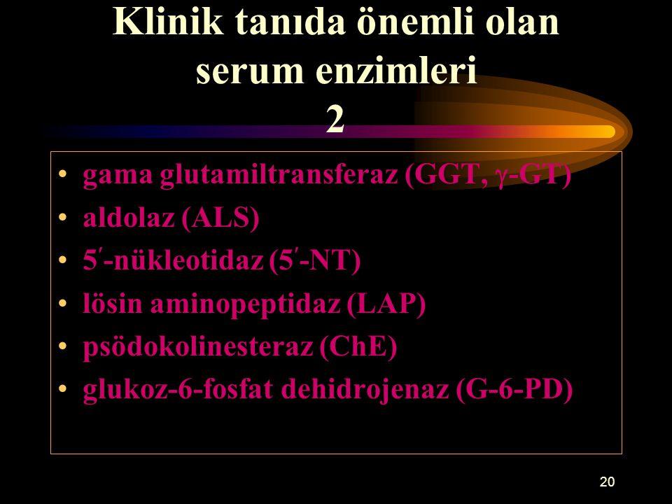 20 Klinik tanıda önemli olan serum enzimleri 2 gama glutamiltransferaz (GGT,  -GT) aldolaz (ALS) 5-nükleotidaz (5-NT) lösin aminopeptidaz (LAP) psödo