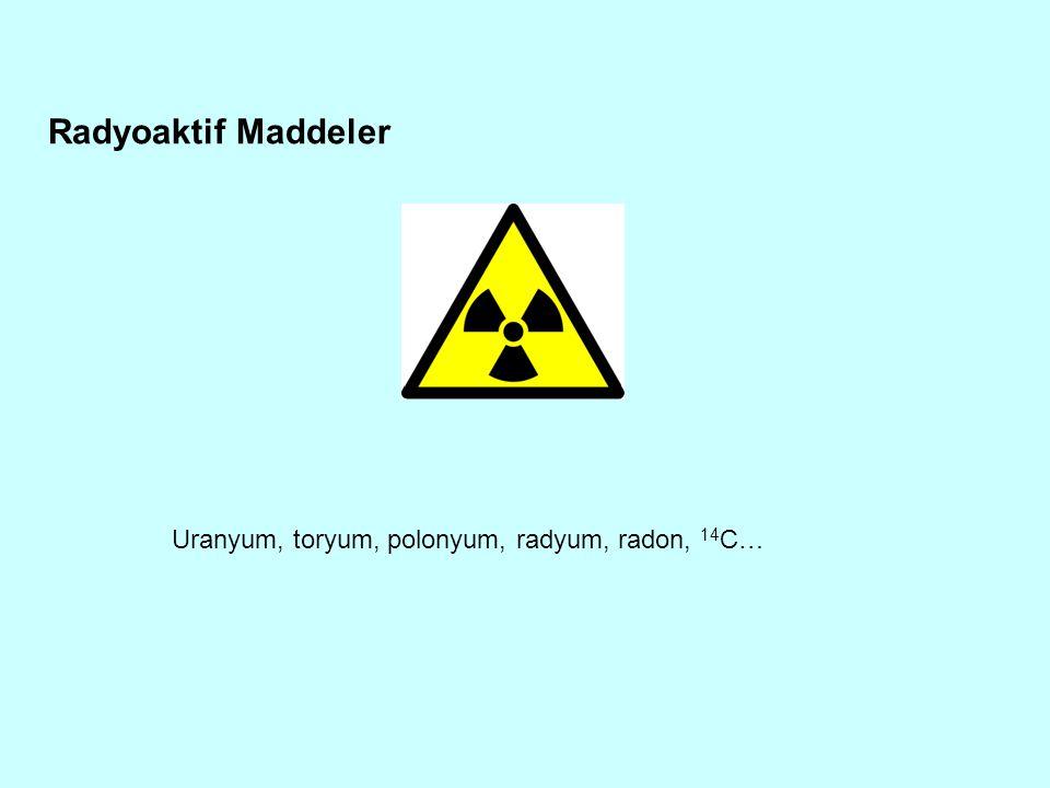 Radyoaktif Maddeler Uranyum, toryum, polonyum, radyum, radon, 14 C…