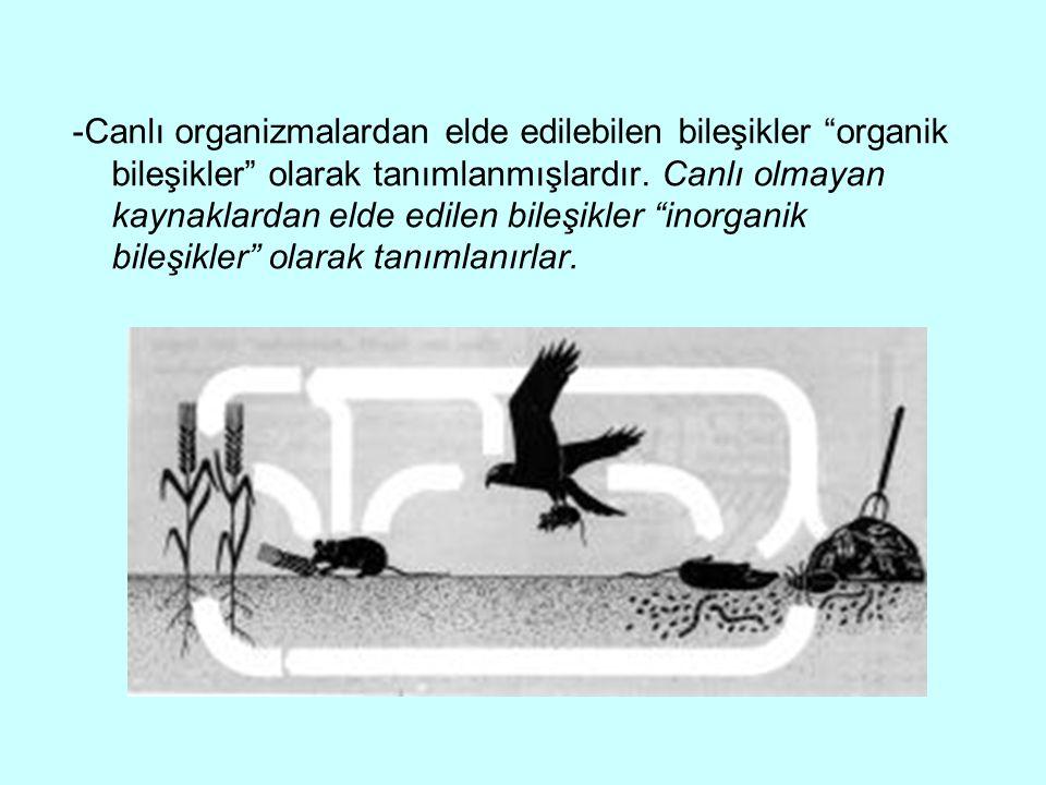 """-Canlı organizmalardan elde edilebilen bileşikler """"organik bileşikler"""" olarak tanımlanmışlardır. Canlı olmayan kaynaklardan elde edilen bileşikler """"in"""