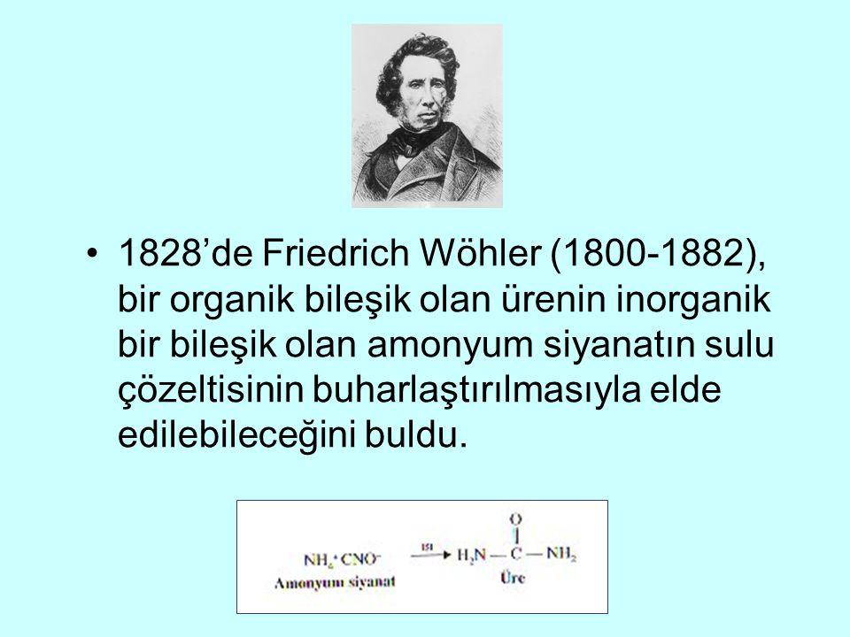 1828'de Friedrich Wöhler (1800-1882), bir organik bileşik olan ürenin inorganik bir bileşik olan amonyum siyanatın sulu çözeltisinin buharlaştırılması