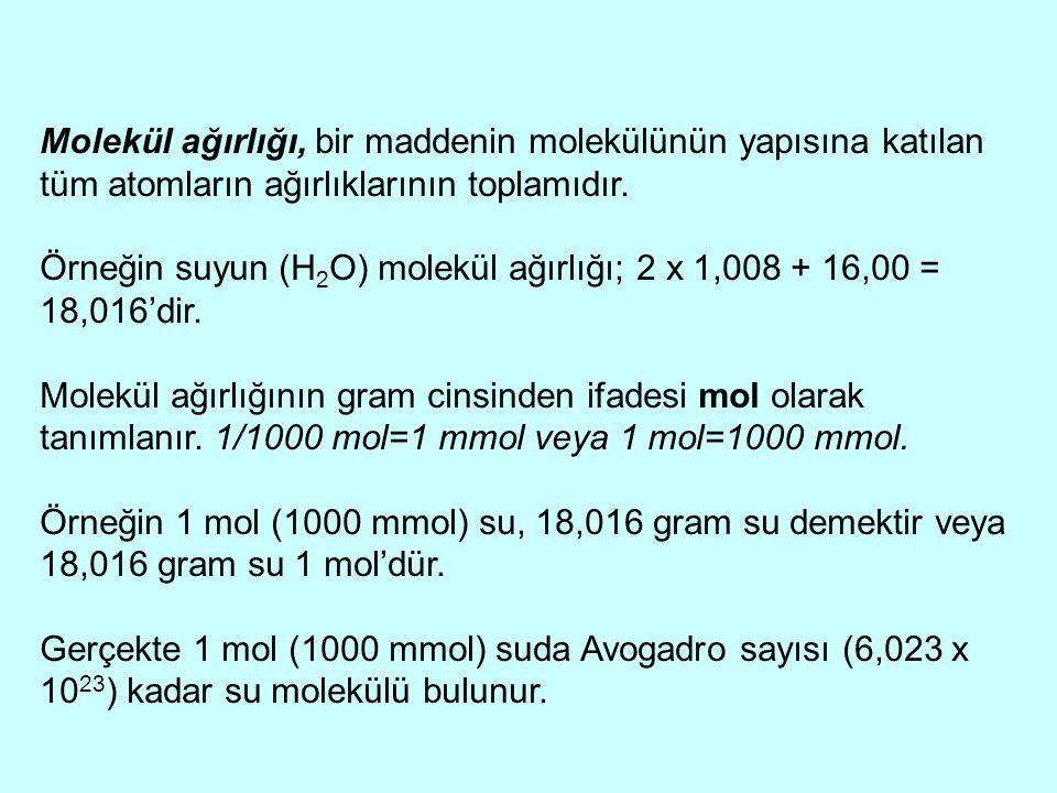 Molekül ağırlığı, bir maddenin molekülünün yapısına katılan tüm atomların ağırlıklarının toplamıdır. Örneğin suyun (H 2 O) molekül ağırlığı; 2 x 1,008