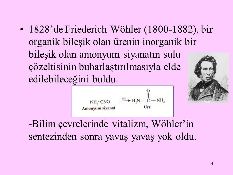4 1828'de Friederich Wöhler (1800-1882), bir organik bileşik olan ürenin inorganik bir bileşik olan amonyum siyanatın sulu çözeltisinin buharlaştırılm