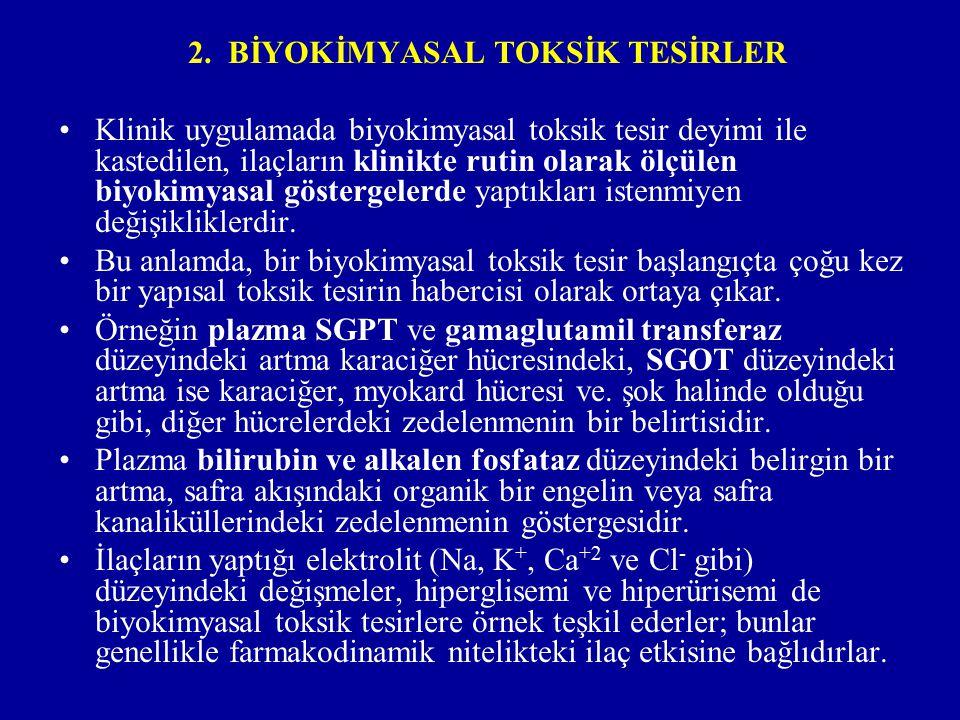 2. BİYOKİMYASAL TOKSİK TESİRLER Klinik uygulamada biyokimyasal toksik tesir deyimi ile kastedilen, ilaçların klinikte rutin olarak ölçülen biyokimyasa