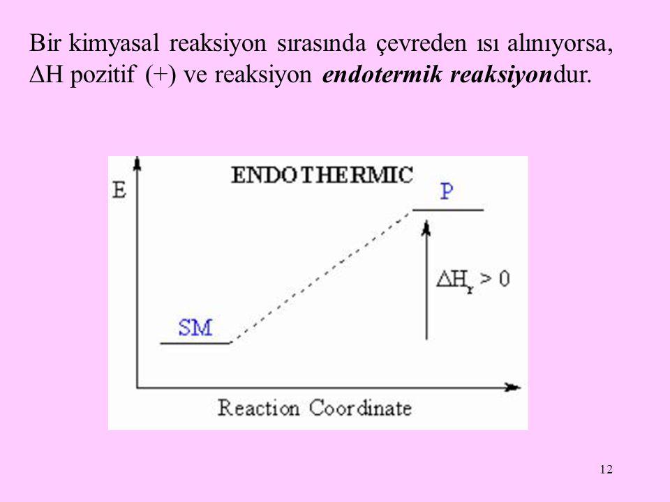 12 Bir kimyasal reaksiyon sırasında çevreden ısı alınıyorsa,  H pozitif (+) ve reaksiyon endotermik reaksiyondur.