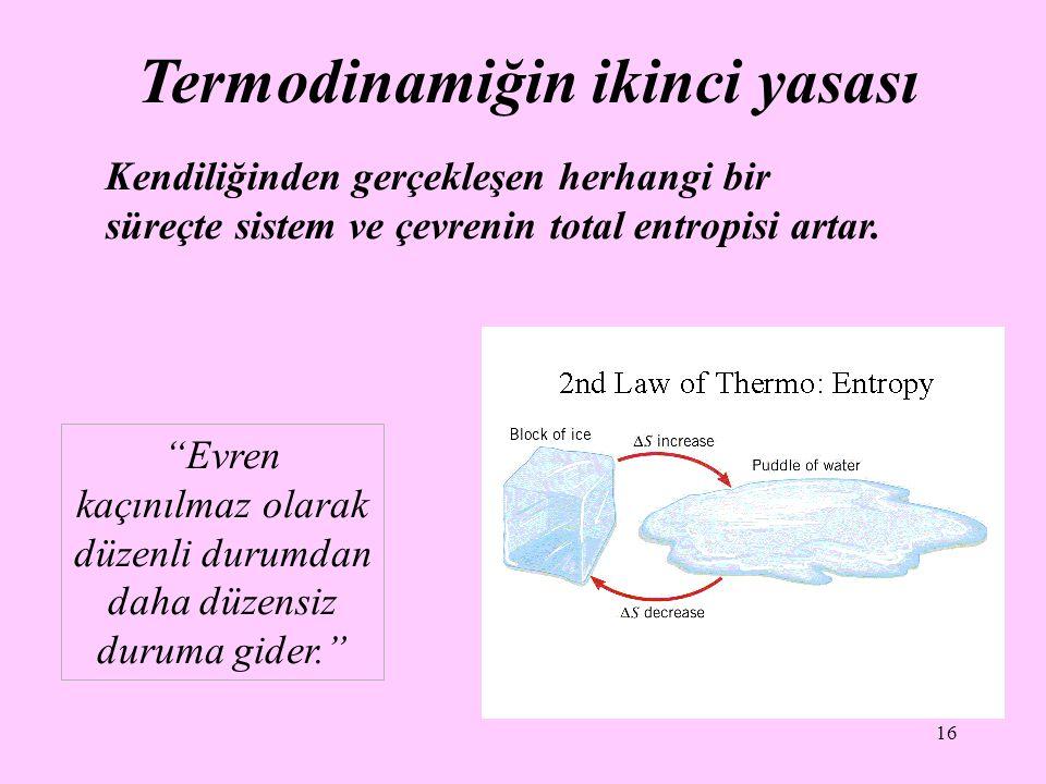 """16 Termodinamiğin ikinci yasası Kendiliğinden gerçekleşen herhangi bir süreçte sistem ve çevrenin total entropisi artar. """"Evren kaçınılmaz olarak düze"""