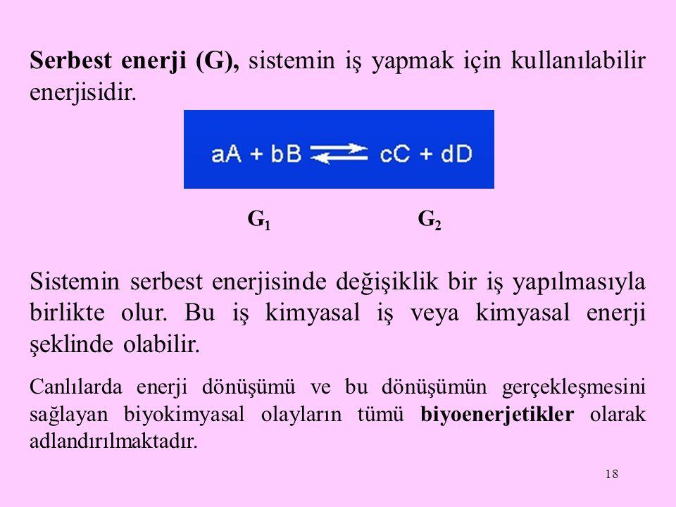 18 Serbest enerji (G), sistemin iş yapmak için kullanılabilir enerjisidir. Sistemin serbest enerjisinde değişiklik bir iş yapılmasıyla birlikte olur.