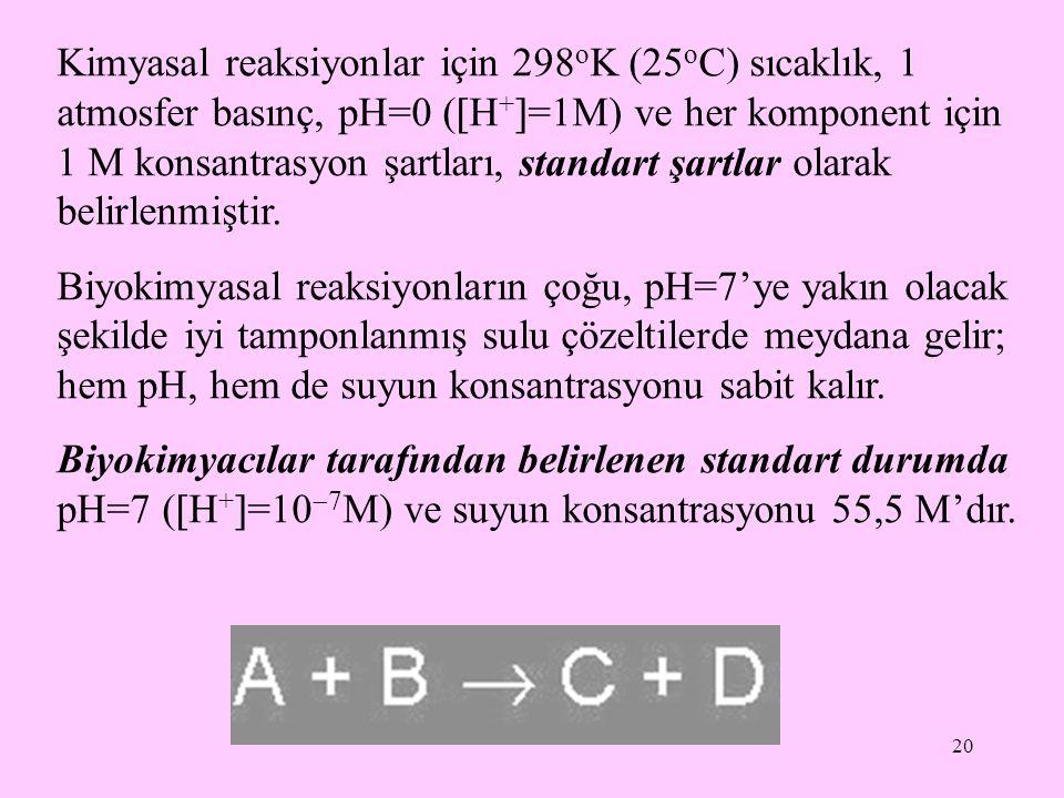 20 Kimyasal reaksiyonlar için 298 o K (25 o C) sıcaklık, 1 atmosfer basınç, pH=0 (  H +  =1M) ve her komponent için 1 M konsantrasyon şartları, stan