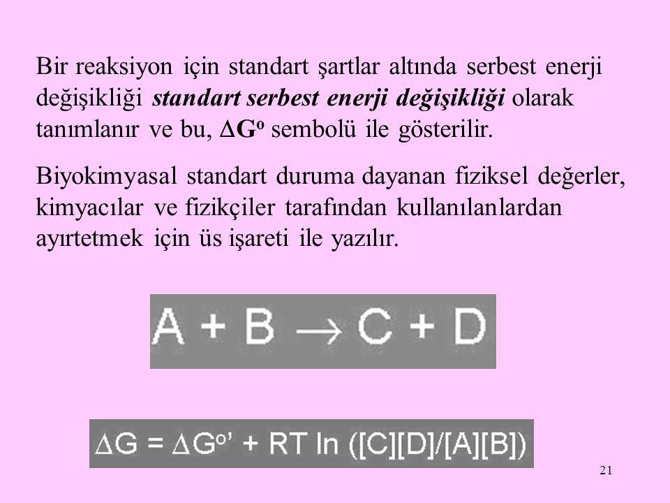 21 Bir reaksiyon için standart şartlar altında serbest enerji değişikliği standart serbest enerji değişikliği olarak tanımlanır ve bu,  G o sembolü i