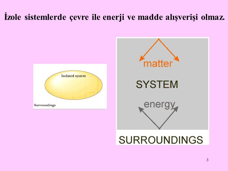 3 İzole sistemlerde çevre ile enerji ve madde alışverişi olmaz.