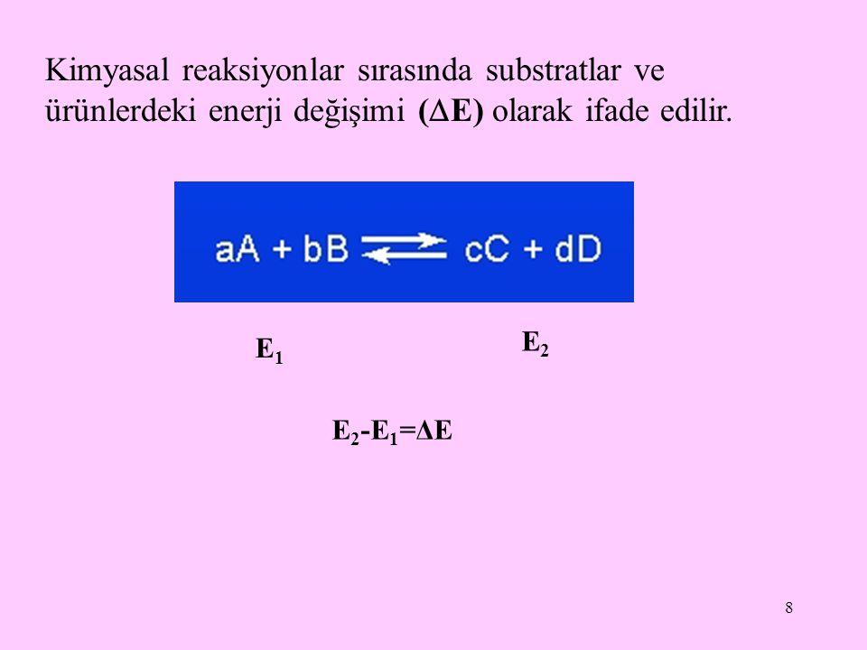 8 Kimyasal reaksiyonlar sırasında substratlar ve ürünlerdeki enerji değişimi (  E) olarak ifade edilir. E1E1 E2E2 E 2 -E 1 =ΔE