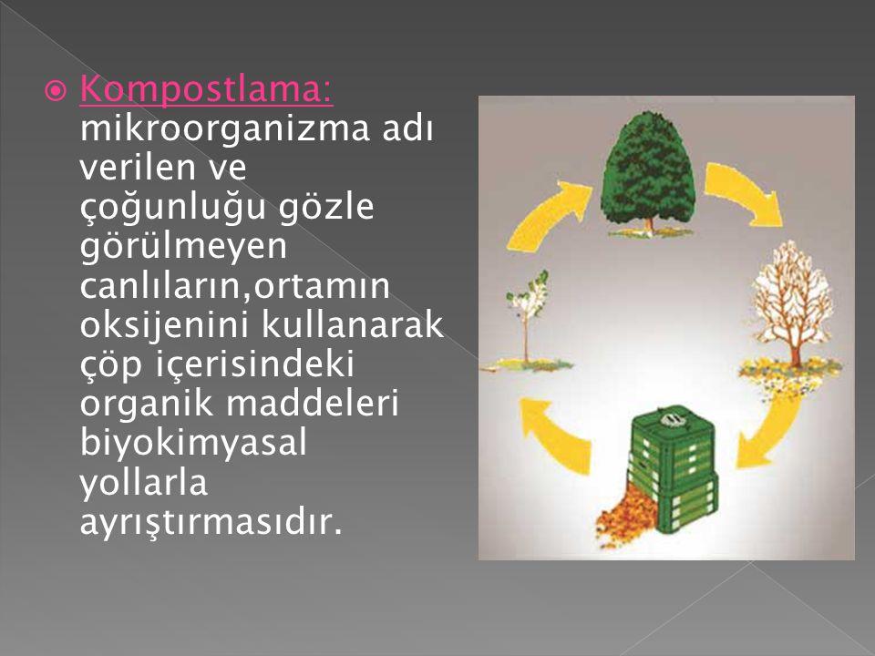  Kompostlama: mikroorganizma adı verilen ve çoğunluğu gözle görülmeyen canlıların,ortamın oksijenini kullanarak çöp içerisindeki organik maddeleri bi