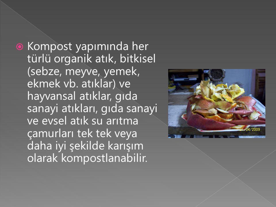  Kompost yapımında her türlü organik atık, bitkisel (sebze, meyve, yemek, ekmek vb. atıklar) ve hayvansal atıklar, gıda sanayi atıkları, gıda sanayi