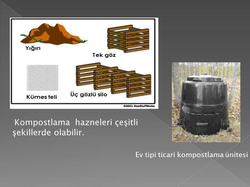 Kompostlama hazneleri çeşitli şekillerde olabilir. Ev tipi ticari kompostlama ünitesi