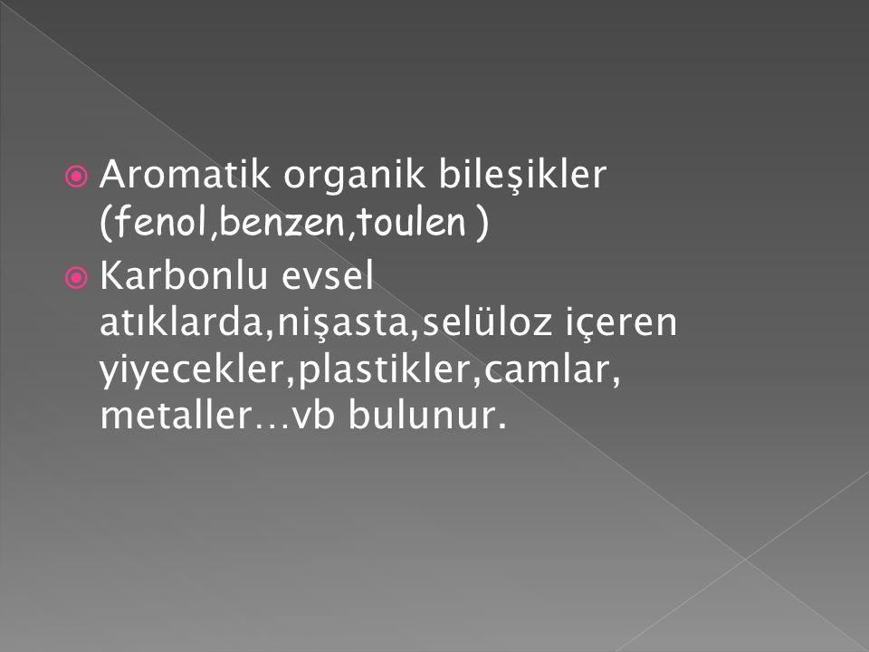  Aromatik organik bileşikler (fenol,benzen,toulen )  Karbonlu evsel atıklarda,nişasta,selüloz içeren yiyecekler,plastikler,camlar, metaller…vb bulun
