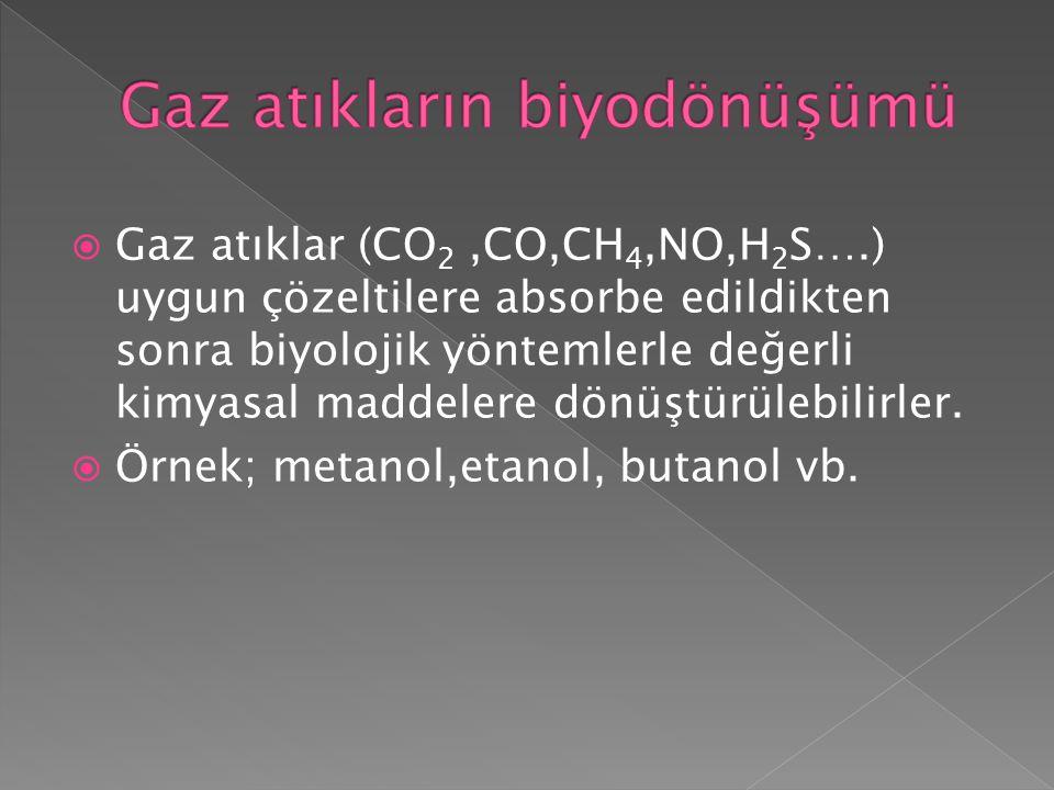  Gaz atıklar (CO 2,CO,CH 4,NO,H 2 S….) uygun çözeltilere absorbe edildikten sonra biyolojik yöntemlerle değerli kimyasal maddelere dönüştürülebilirle