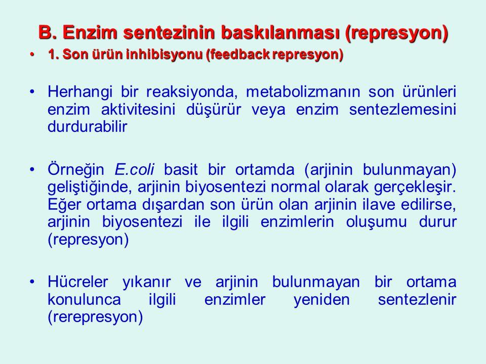 B. Enzim sentezinin baskılanması (represyon) 1. Son ürün inhibisyonu (feedback represyon)1. Son ürün inhibisyonu (feedback represyon) Herhangi bir rea
