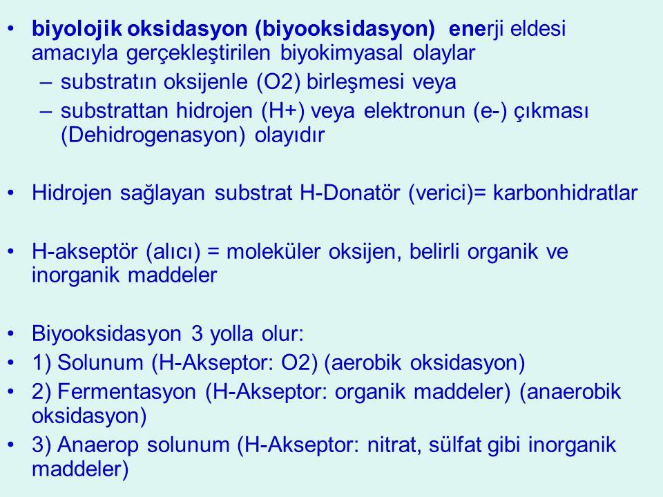 biyolojik oksidasyon (biyooksidasyon) enerji eldesi amacıyla gerçekleştirilen biyokimyasal olaylar –substratın oksijenle (O2) birleşmesi veya –substra