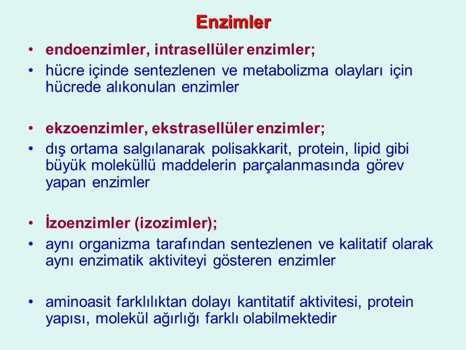 Enzimler Apoenzim + Koenzim HoloenzimApoenzim + Koenzim Holoenzim ApoenzimApoenzim –inaktif –protein yapısında –kolloidal –yüksek molekül ağırlıklı –ısıya dayanıksız –taşıyıcı görevi yapar Koenzim (Prostetik grup)Koenzim (Prostetik grup) –inaktif –protein yapısında değil –düşük moleküllü –ısıya dayanıklı –organik kısımdan oluşmuş holoenzim (konjuge enzim)holoenzim (konjuge enzim) –iki inaktif (apoenzim-koenzim) kısmın birleşmesiyle oluşan aktif enzim