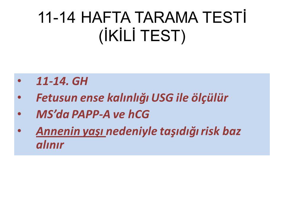 11-14 HAFTA TARAMA TESTİ (İKİLİ TEST) 11-14. GH Fetusun ense kalınlığı USG ile ölçülür MS'da PAPP-A ve hCG Annenin yaşı nedeniyle taşıdığı risk baz al