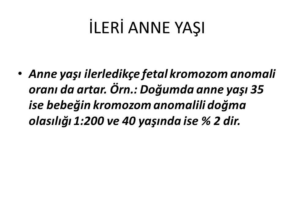 İLERİ ANNE YAŞI Anne yaşı ilerledikçe fetal kromozom anomali oranı da artar. Örn.: Doğumda anne yaşı 35 ise bebeğin kromozom anomalili doğma olasılığı