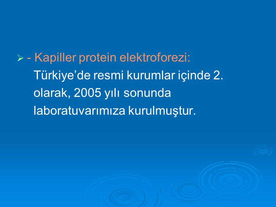   - Kapiller protein elektroforezi: Türkiye'de resmi kurumlar içinde 2. olarak, 2005 yılı sonunda laboratuvarımıza kurulmuştur.