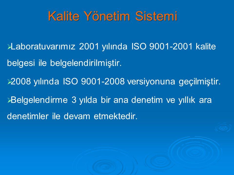  Laboratuvarımız 2001 yılında ISO 9001-2001 kalite belgesi ile belgelendirilmiştir.   2008 yılında ISO 9001-2008 versiyonuna geçilmiştir.   Bel